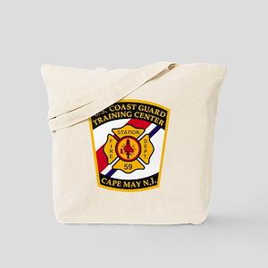 3-USCG-TRACEN-CpMy-Fire-Dept-Black-Shirt Tote Bag