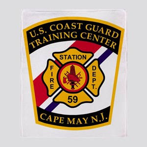 3-USCG-TRACEN-CpMy-Fire-Dept-Black-S Throw Blanket