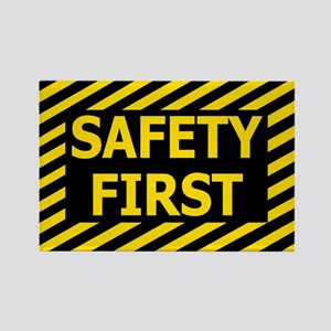Safety-First-Black-Cap Rectangle Magnet