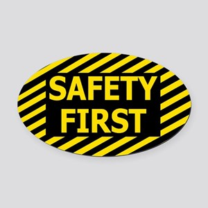 Safety-First-Black-Cap Oval Car Magnet