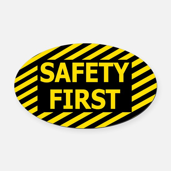 Safety-First-Black-Cap.gif Oval Car Magnet