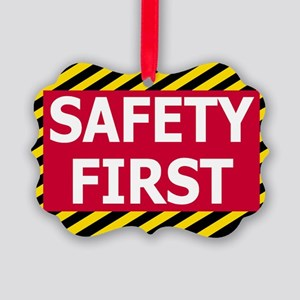 Safety-First-Sticker Picture Ornament