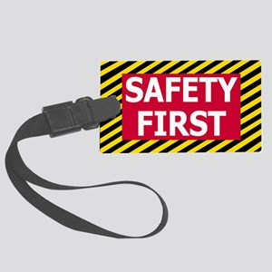 Safety-First-Sticker Large Luggage Tag