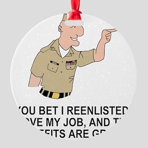 Navy-Humor-You-Bet-Khaki Round Ornament