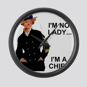 Navy-Humor-Im-A-Chief-G Large Wall Clock