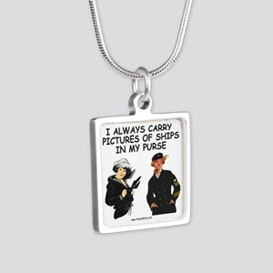 Navy-Humor-Pictures-Of-Shi Silver Square Necklace