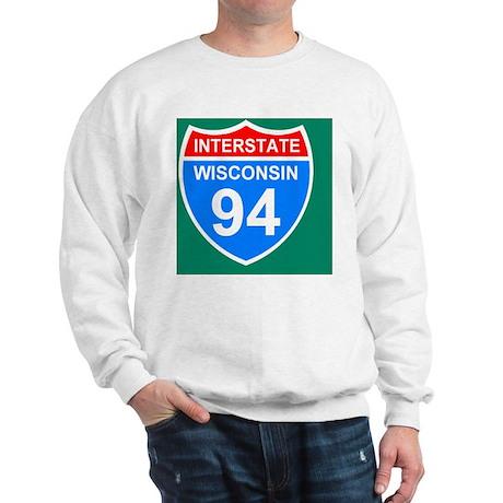 Sign-Wisconsin-Interstate-94-Sticker.gi Sweatshirt