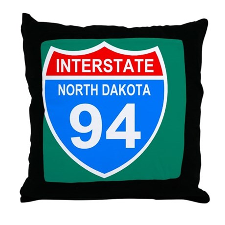 Sign-North-Dakota-Interstate-94-Journ Throw Pillow