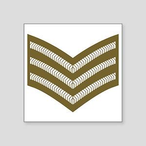 """British-Sergeant-Khaki-Cap. Square Sticker 3"""" x 3"""""""