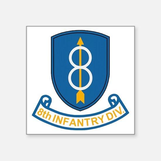 "Army-8th-Infantry-Div-3-Bon Square Sticker 3"" x 3"""