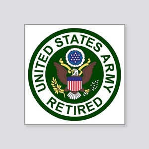 "3-Army-Retired-For-Stripes- Square Sticker 3"" x 3"""