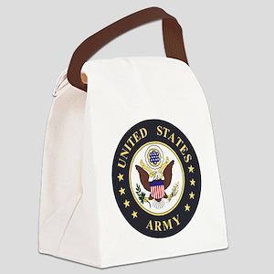 Army-Emblem-3X-Blue Canvas Lunch Bag