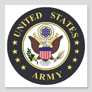 "Army-Emblem-3X-Blue Square Car Magnet 3"" x 3"""