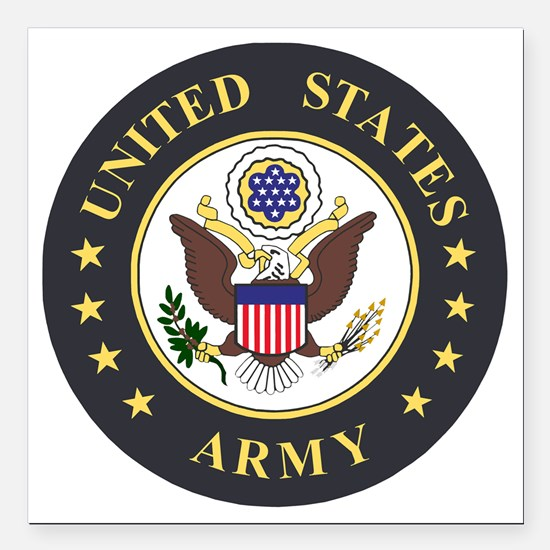 "Army-Emblem-3X-Blue.gif Square Car Magnet 3"" x 3"""