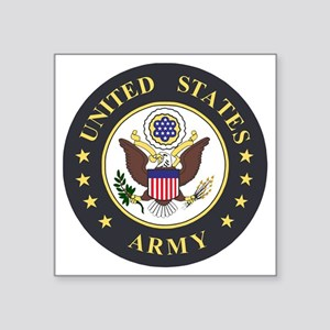 "Army-Emblem-3X-Blue Square Sticker 3"" x 3"""