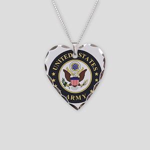 Army-Emblem-3X-Blue Necklace Heart Charm
