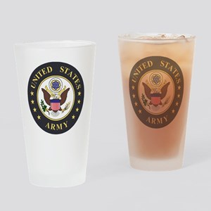 Army-Emblem-3X-Blue Drinking Glass