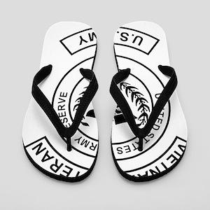 USAR-Vietnam-Veteran-Black Flip Flops