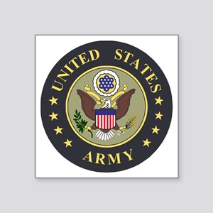 "Army-Emblem-Blue-Olive Square Sticker 3"" x 3"""