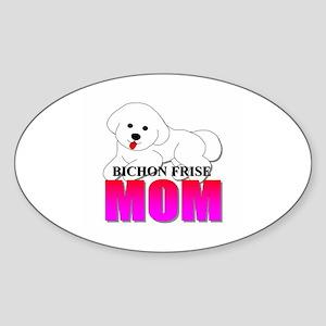 Bichon Frise Mom Oval Sticker