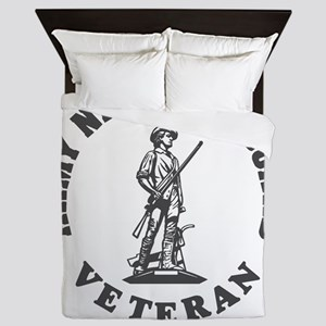 ARNG-Veteran-Green-White Queen Duvet