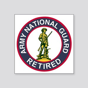 "ARNG-Retired-Red-Blue Square Sticker 3"" x 3"""