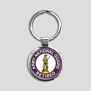 ARNG-Retired-Red-Blue Round Keychain
