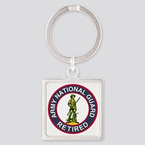 ARNG-Retired-Red-Blue Square Keychain