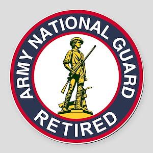 ARNG-Retired-Red-Blue Round Car Magnet