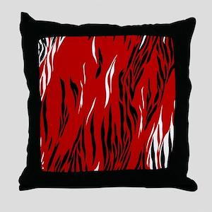 Zebra Print Red Black White Throw Pillow