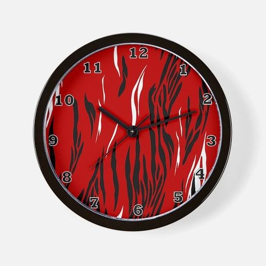 Zebra Print Red Black White Wall Clock