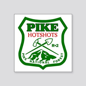 "Pike-Hotshots-Green-Red Square Sticker 3"" x 3"""