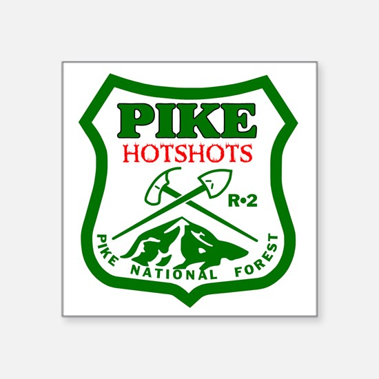 "Pike-Hotshots-Green-Red Square Sticker 3"" x 3"""