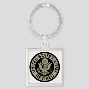 Army-Retired-Subdued Square Keychain