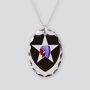 Army-2nd-Infantry-Shoulder-Pat Necklace Oval Charm