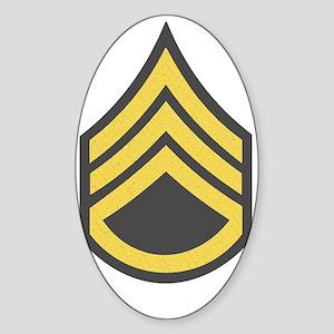 Army-SSG-Gold-Green-Fancy Sticker (Oval)