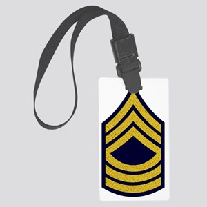 Army-MSG-Gold-Fancy-On-Blue Large Luggage Tag