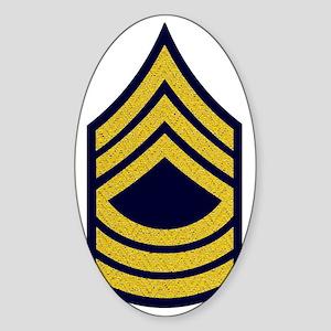 Army-MSG-Gold-Fancy-On-Blue Sticker (Oval)