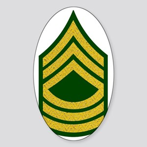 Army-MSG-Gold-Fancy-On-Green Sticker (Oval)