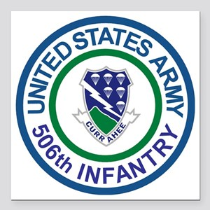 "Army-506th-Infantry-Roun Square Car Magnet 3"" x 3"""