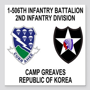 "2-Army-506th-Infantry-Ko Square Car Magnet 3"" x 3"""