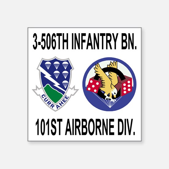 """2-Army-506th-Infantry-3-506 Square Sticker 3"""" x 3"""""""