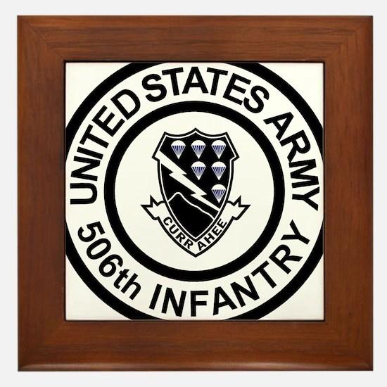 Army-506th-Infantry-Roundel-Black-Whit Framed Tile