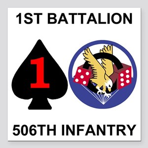 "2-Army-506th-Infantry-1s Square Car Magnet 3"" x 3"""