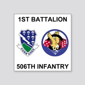 """Army-506th-Infantry-BN1-Cur Square Sticker 3"""" x 3"""""""