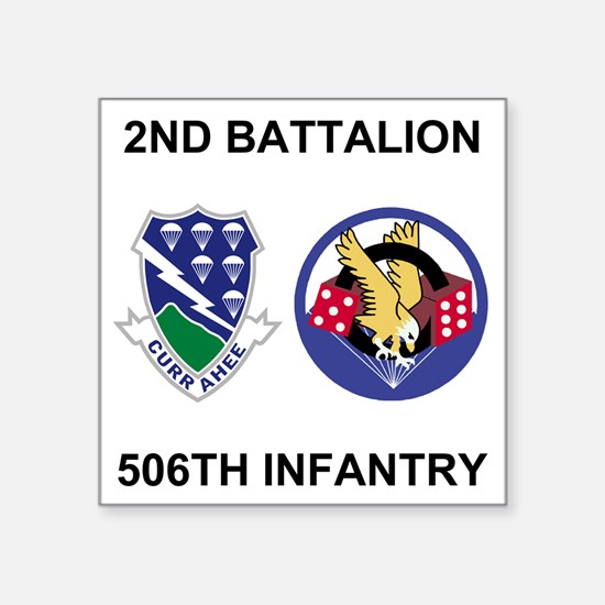 """Army-506th-Infantry-BN2-Cur Square Sticker 3"""" x 3"""""""