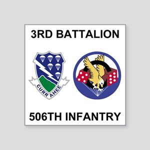 "Army-506th-Infantry-BN3-Cur Square Sticker 3"" x 3"""