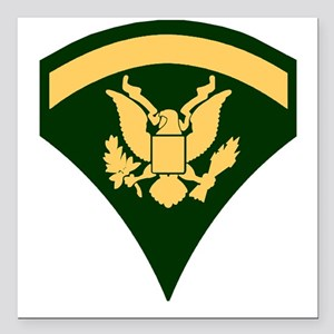 "Army-SP5-Green-Four-Inch Square Car Magnet 3"" x 3"""