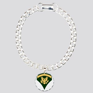 Army-SP5-Green-Four-Inch Charm Bracelet, One Charm