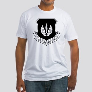 USAF-USAFE-Shield-BW-Bonnie Fitted T-Shirt
